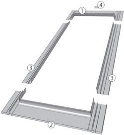 Schéma lemování pro ploché střešní krytiny ESV, ESJ, ESV-T Thermo